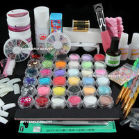 Manicure Acrylic Powder Polymer Base Coat Glitter Dust Rhinestone Decoration Set