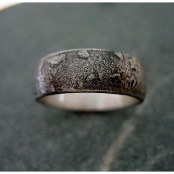Men or Women Antiqued Sterling Silver Wedding Band