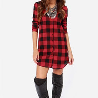 Red Plaid Button Long-Sleeve Collared Dress Shirt