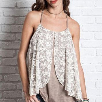 racerback tank with lace overlay