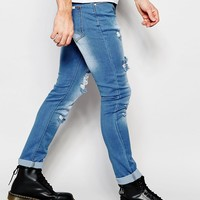 Liquor & Poker Skinny Extreme Rips Jeans in Light Stonewash