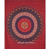 Queen Red Plum And Bow Medallion Wall Tapestry Mandala Bohemian Bedspread on RoyalFurnish.com