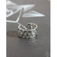 "Sacred Geo Ring - Flower of Life ""Silver"""