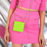 Neon Lime Chain Strap Crossbody Bag