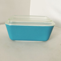 Primary Blue Pyrex Refrigerator Dish With  Lid 502
