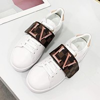LV Louis Vuitton New fashion letter plaid print high quality shoes women White