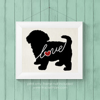 Maltipoo Love (Maltese / Poodle) - Burlap or Canvas / Wall Art Print for Dog Lovers: Personalized (Free Shipping)