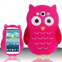 Balaji For Samsung Galaxy S3 III i9300 - OWL 3D Silicon Skin Case - Hot Pink SCOWL