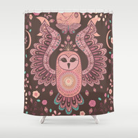 The Owl, The Moon & The Butterfly Shower Curtain by Bohemian Gypsy Jane