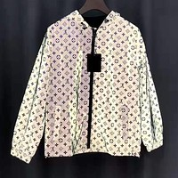 LV Louis Vuitton Hot Sale Women Men Personality Reflective Hoodie Cardigan Jacket Coat Windbreaker