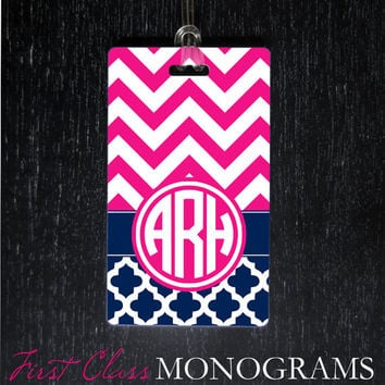 Preppy Monogram Luggage Tag, Baggage Tag for diaper bag, golf bag, backpack. Pink and Navy Chevron Monogrammed Gifts LTM-177