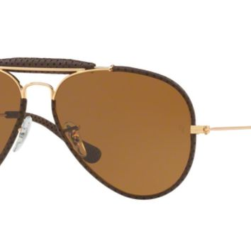 Authentic Ray Ban 0RB3422Q AVIATOR CRAFT 9041 LEATHER BROWN Sunglasses