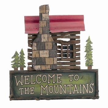 "Welcome to the Mountains Cabin Sign - 30"" (Customizable)"