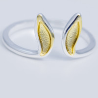 Lovely rabbit ears 925 sterling silver adjustable ring, a perfect gift