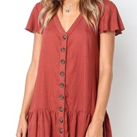 Orsle V Neckline Button Down Relaxed Mini Dress