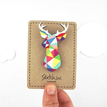 Geometric Deer Brooch Neon Stag Head - Unique boutonniere