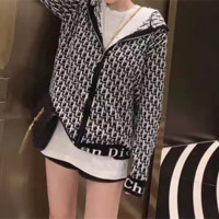 """Dior"" Women Fashion Retro Letter Long Sleeve Multicolor  Zip Hooded Knitwear Casual Tops"