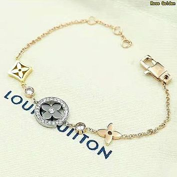 LV Louis Vuitton Newest Fashion Women Delicate Stainless Steel Bracelet Hand Catenary