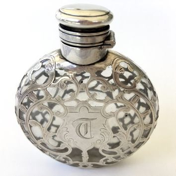Antique Sterling Overlay Perfume Bottle, Clear Glass, Hinged Lid, Art Nouveau Perfume Holder. Sterling Perfume Bottle