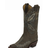 Justin Women's Bent Rail Boots in Distressed Chocolate Puma BRL106 - Handcrafted in the U.S.A.