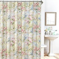 Giverny Floral Plisse Fabric Shower Curtain, Liner and Hook Set