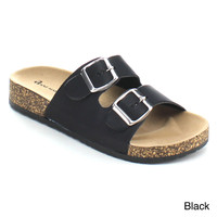 Anne Marie Glory-2 Women Fashion Comfy Buckled Cork Sole Two Strap Slides Sandal