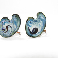 Enamel Earrings  SALE  Vintage Copper   Blue White  Unique Jewelry  Gift for Her  Vintage Present  Gifts Under 20   Stocking Stuffer