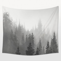 Fog Trees Tapestry, Black White Art, Landscape Photo