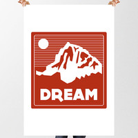 Dream Mountain Print, Printable Simple Graphic Poster, Instant Download, Nursery Decor, Childrens Wall Art, Wanderlust, The Great Outdoors