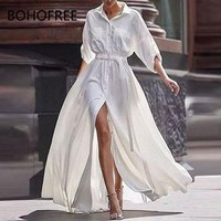 BOHOFREE White Dress Shirt Dress 3/4 Sleeve Lapel Collar High Waist Button Down Long Vestidos Maxi Hippie Dress Femme