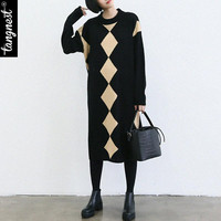 TANGNEST Women Winter Sweater Dress 2016 Casual Straight Geometric Contrast Color Mid-Calf Long Sleeve Knitted Pullover WZQ145