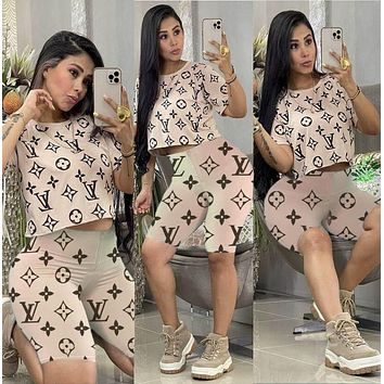 LV Louis Vuitton fashion women's casual suit printing printing and dyeing fashion two-piece suit Khaki