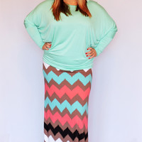 Mint and Coral Chevron Print Maxi Skirt ~ Sizes 12-18