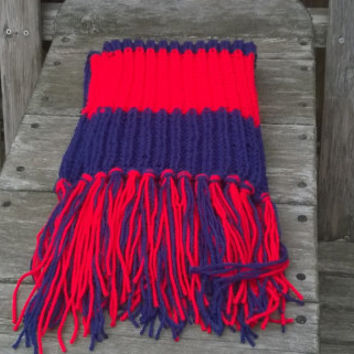 Hand Knit Scarf - Houston Football Fan Scarf - Red and Blue - Mens Scarf - Womens Scarf