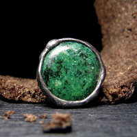 Jewelry by AMW - Statement Ring - Cocktail Ring - Green Chrysocolla Stone Ring