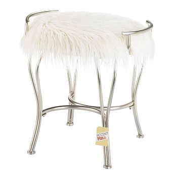 Silver Vanity Stool with White Faux Fur