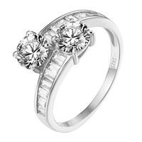 Solitaire 2 Stone Wedding Ring Baguette Cubic Zircon 925 Silver Twisted Band