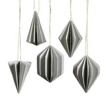 Geometric Paper Ornaments - Set of Ten