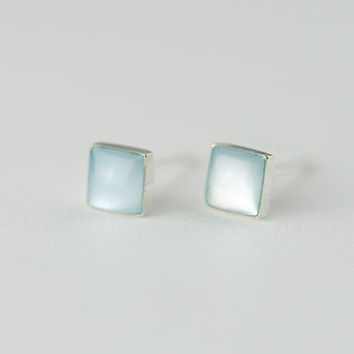 Light Blue Sea Shell Stud Earrings, 925 Sterling Silver Earrings, Square Earrings, Mini Petite, Gift for her, Gift for women, gift for teen