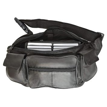 New Large Genuine Leather Waist Bag Fanny Pack with Two Cell Phone Pockets and Six Exterior Pockets 405 (C)