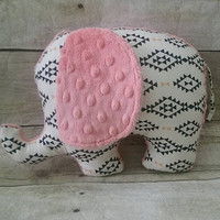 Aztec black & white baby elephant plush - modern aztec coral watermelon elephant stuff animal - aztec nursery decor - elephant baby girl