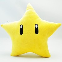 "10.2"" Super Mario Bros Yellow Power Star Plush Pillow"