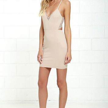 Heartbeat Song Beige Backless Lace Dress