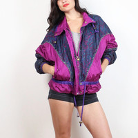 Vintage 1980s Bomber Jacket Pink Purple Paisley Silver Glitter Metallic Windbreaker 80s Wind Breaker Slouchy Sporty Warm Up Track M Medium L