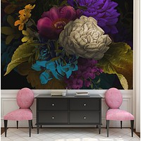 Melancholy Flower Wall Mural. Black background. #6130