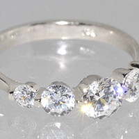 CZ Ring .925 Sterling Silver 5 Stone Clear CZ