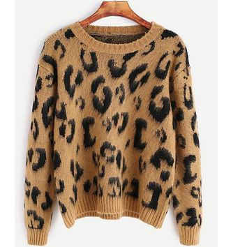 Ukraine Winter Autumn Women Gothic printed leopard brown punk skater Knitted Sweaters Pullovers Ugly Christmas Sweater Tops