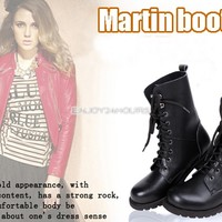 New Women's Girl Cool Punk Rock Military Army Knight Lace-up Short Boots Black