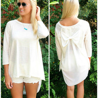 Wind In Our Sails Ivory Bow Back Chiffon Top
