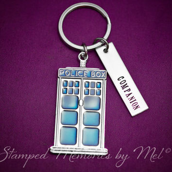 COMPANION - TARDIS Keychain - Dr. Who Fan - Hand Stamped Key Chain - Time Traveler Gift - The Doctor - Geekery Keychain - Time Lord